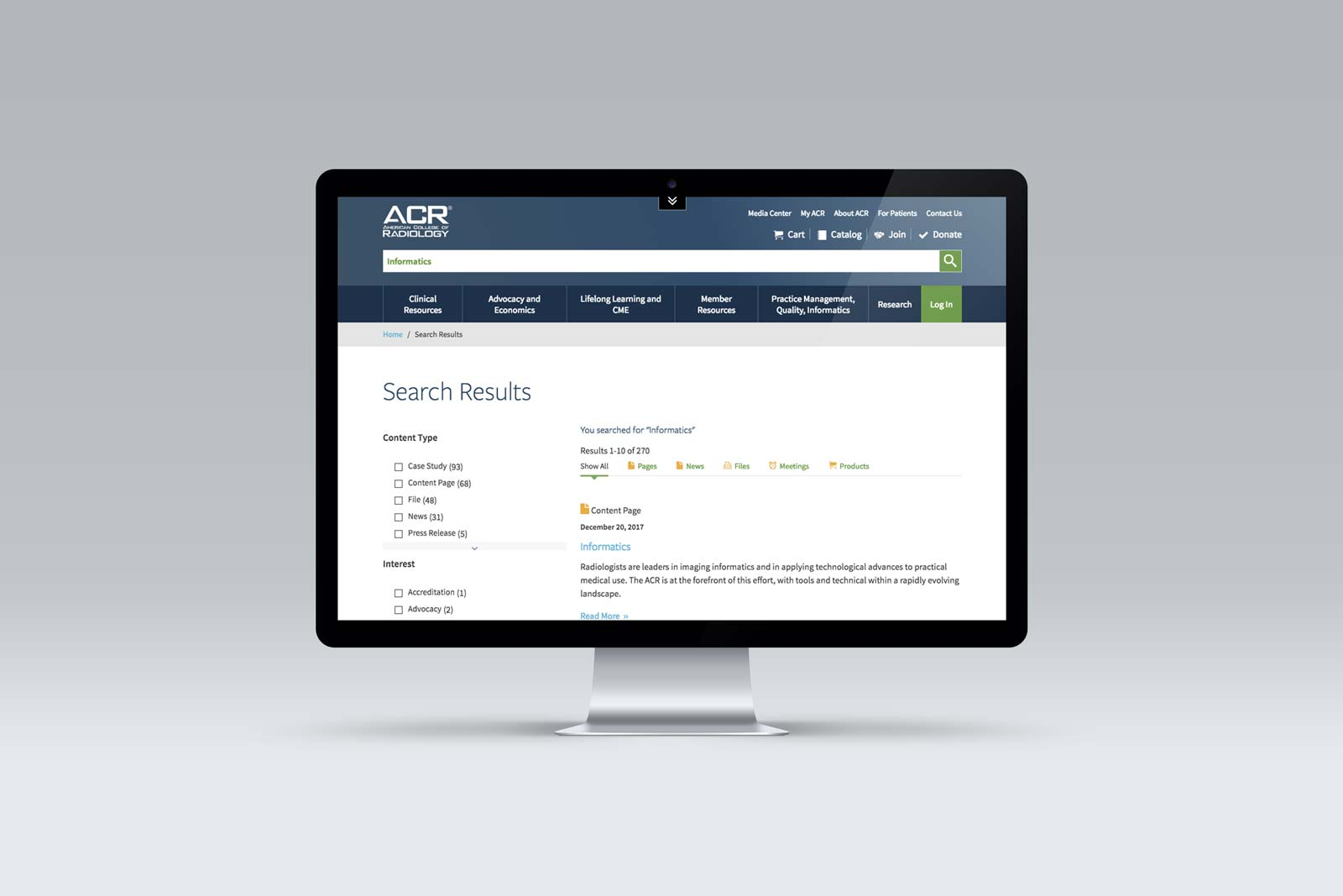 ACR's site-wide search
